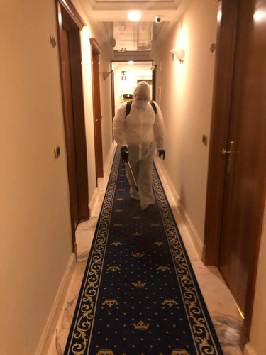 Ozone sanitation in the corridors marconi hotel milan
