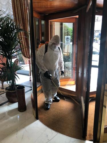 Ozone sanitation in common areas marconi hotel milan